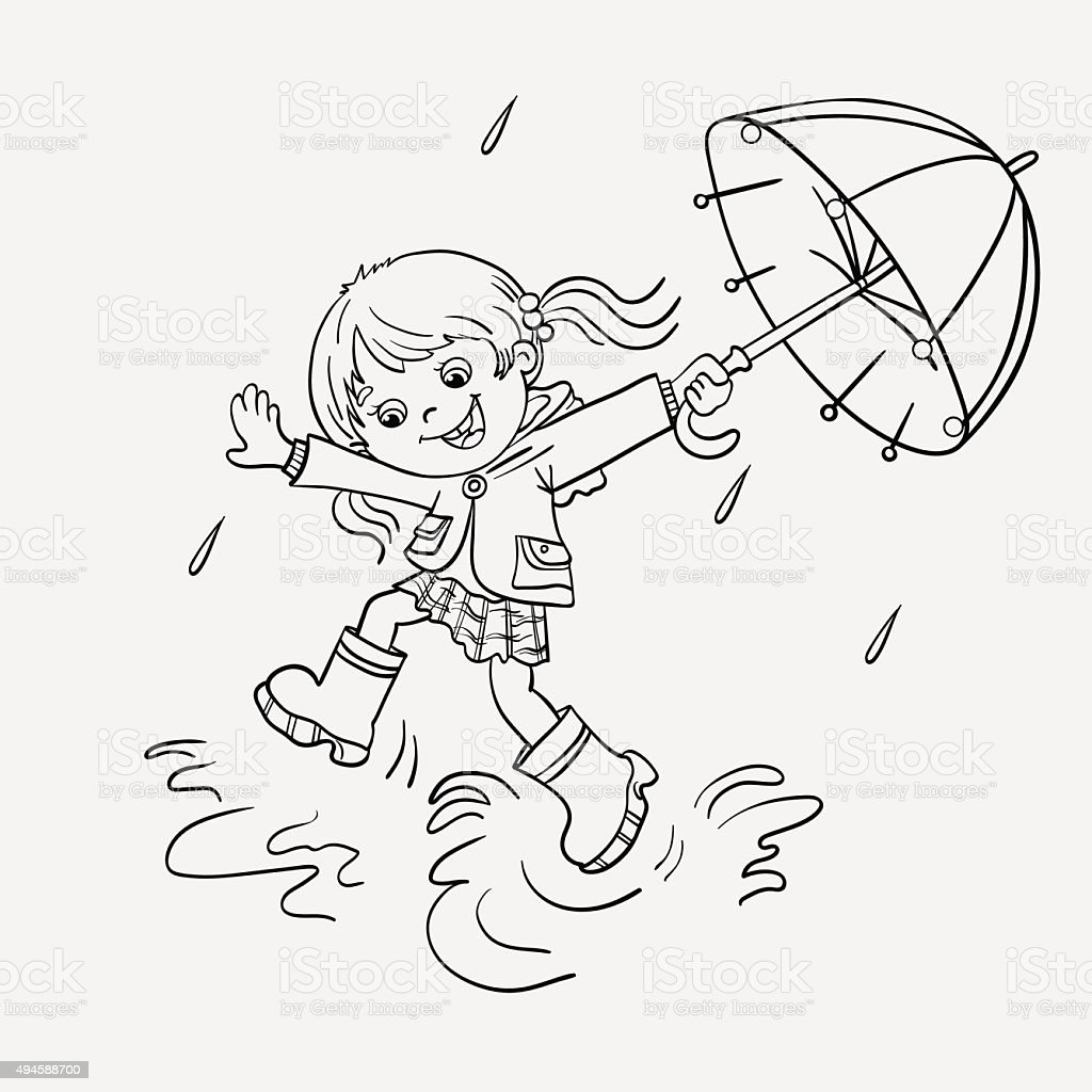 Coloring page outline of a girl jumping in the rain illustration