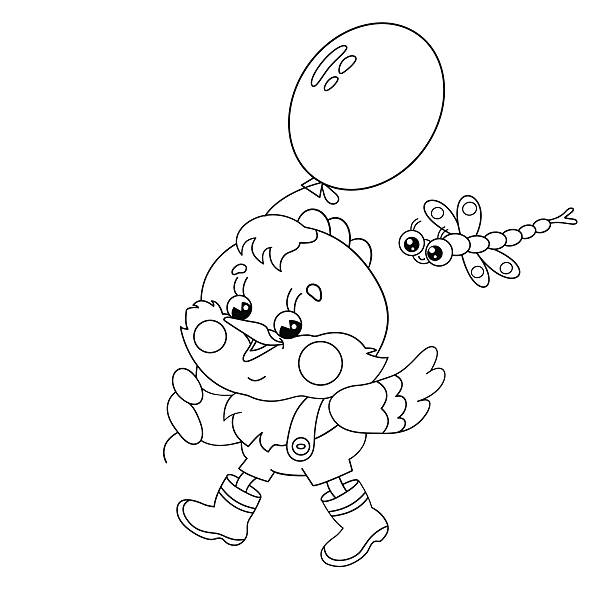 Coloring Page Outline Of A Happy Chicken Walking With Balloon Vector Art Illustration