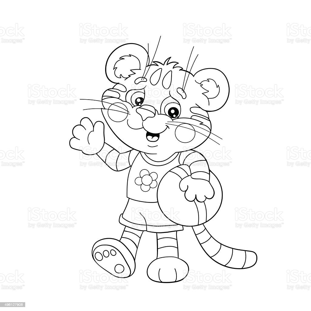 Coloring Page Outline Of A Little Tiger With A Ball Stock Vector Art