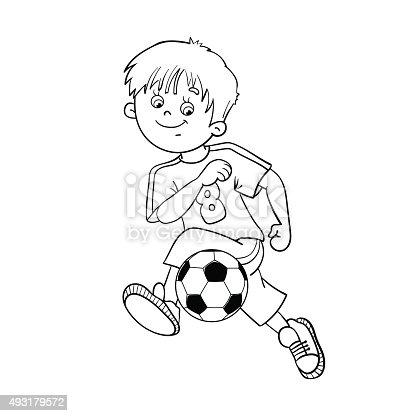 Istock Pagina Para Colorear Con Contorno De Nino Con Balon De Futbol