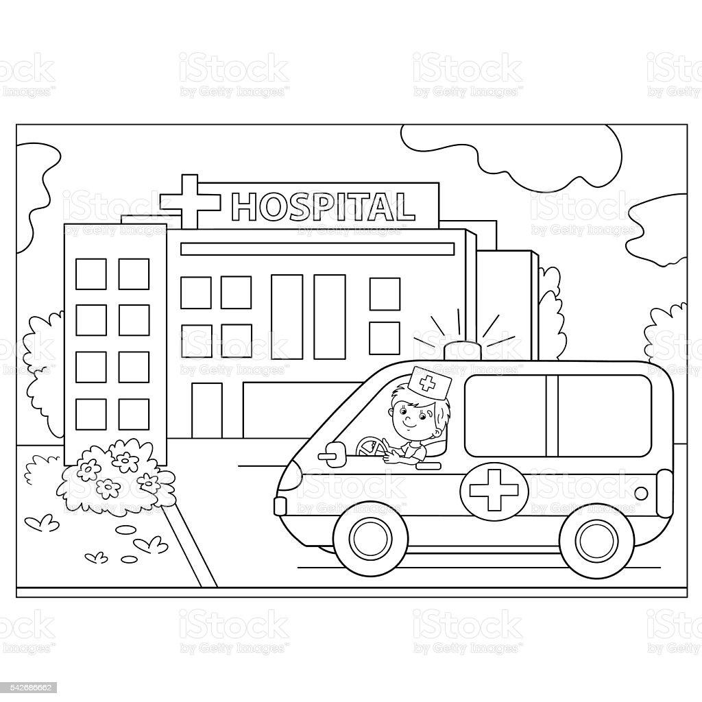 塗り絵ページの輪郭救急車車の近くの病院 お絵かきのベクターアート