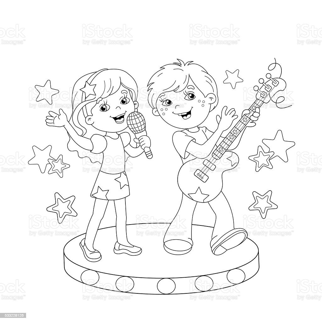 Coloring Page Outline Of Boy And Girl Singing A Song Royalty Free