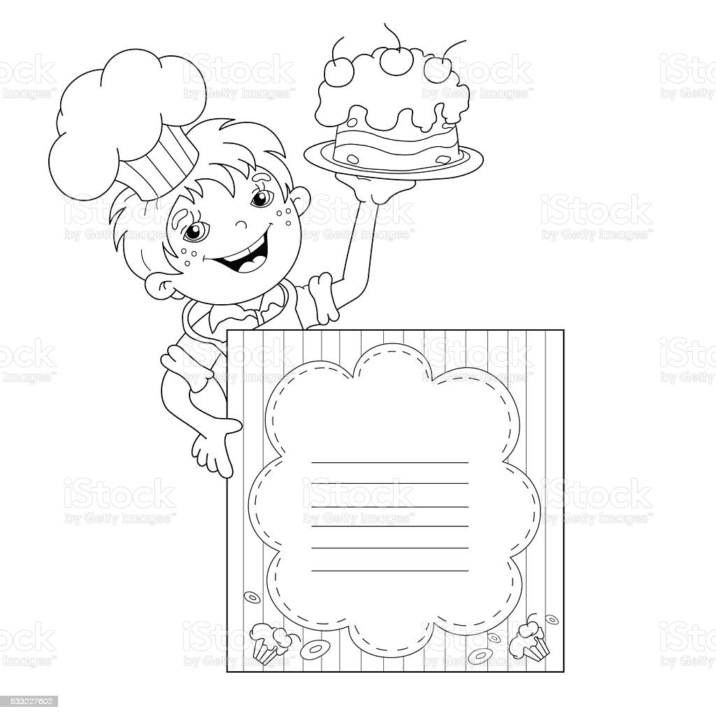Ni o para colorear p gina descripci n del chef con una - Dibujos de cocineros para colorear ...