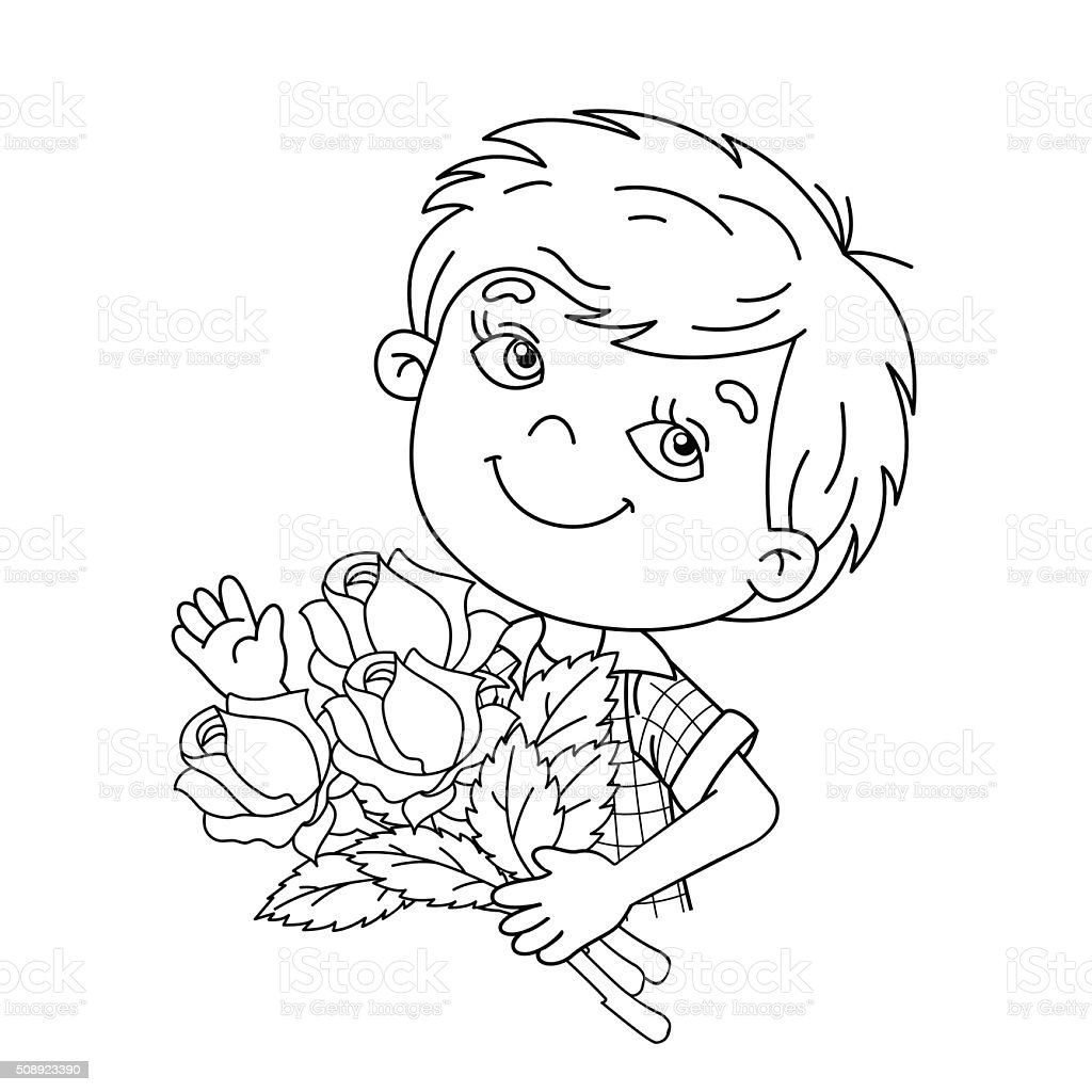 Coloring Page Outline Of Boy Holding A Bouquet Of Roses Stock Vector