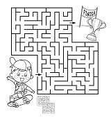 Vector Coloring Page Outline Of Boy on the skateboard. Labyrinth