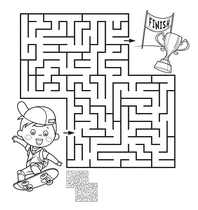 Coloring Page Outline Of Boy on the skateboard. Labyrinth