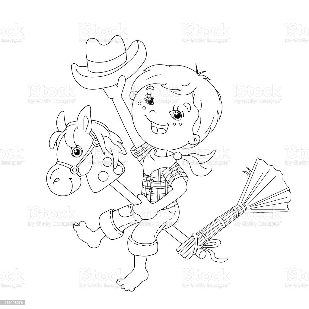 coloring page outline of boy playing cowboy with toy horse stock