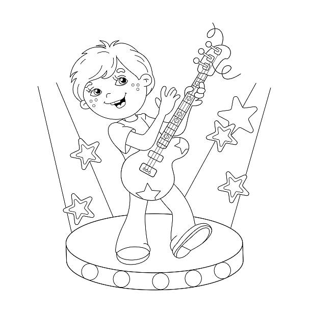 Coloring Book For Children Music Instruments Guitar