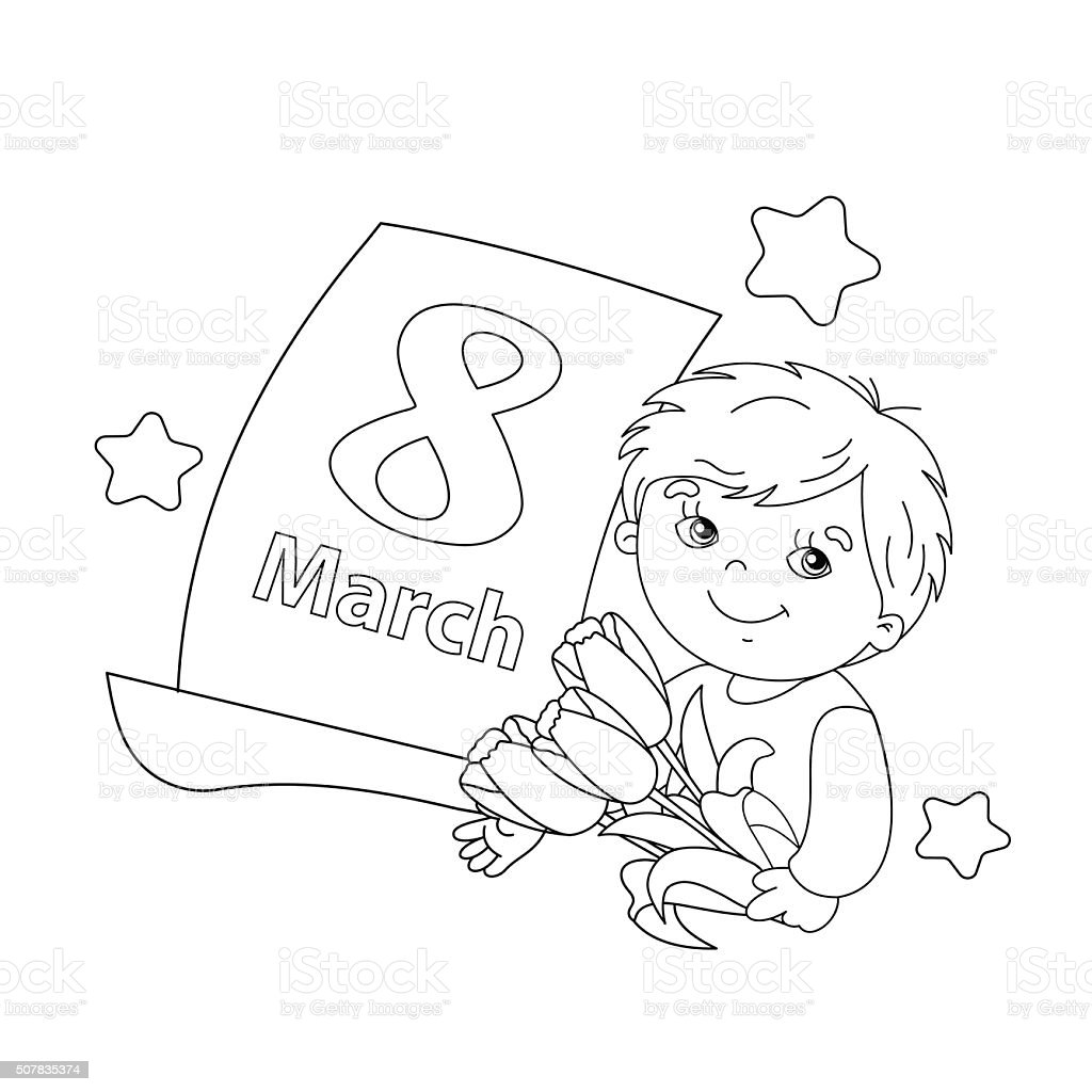 Coloring page outline of boy with flowers with calendar Coloring page outline of Cute boy with a bouquet of Tulips in his hand with a calendar on a white background. March 8. Mother's Day. Women's day. Birthday stock vector
