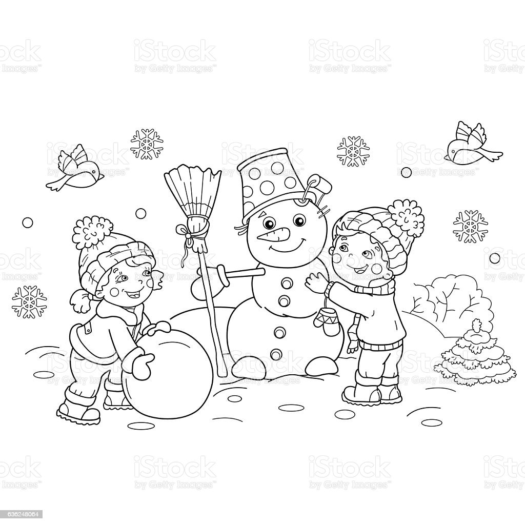 Coloring Page Outline Of Boy With Girl Making Snowman Together Royalty Free