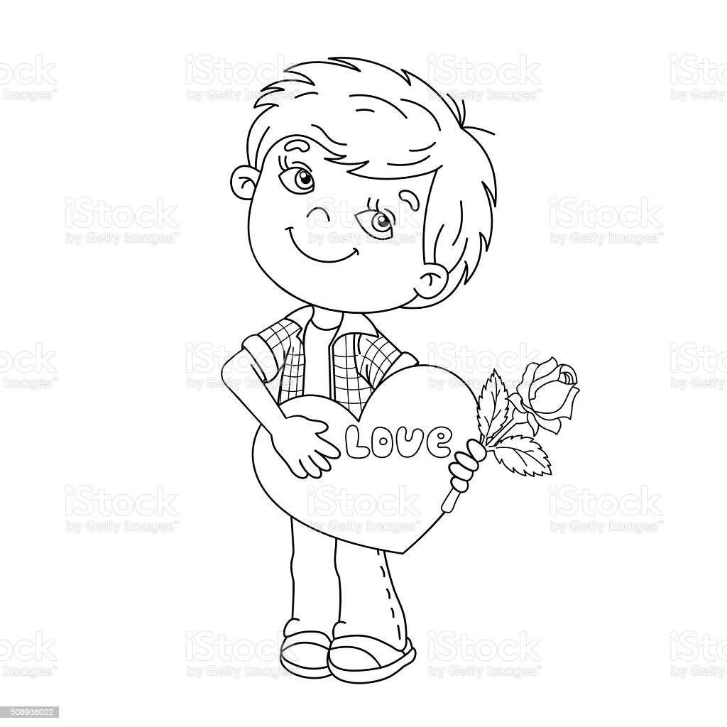 coloring page outline of boy with rose in hand with heart stock