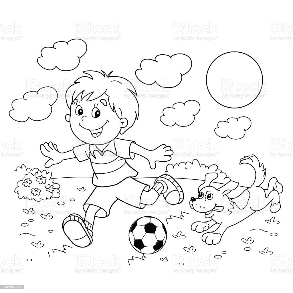Coloring Page Outline Of Boy With Soccer Ball With Dog Stock Vector ...