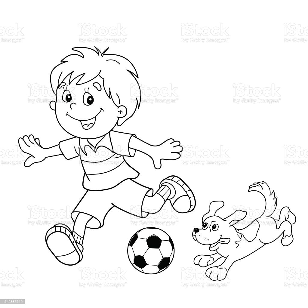 Coloring Page Outline Of Boy With Soccer Ball Dog Royalty Free