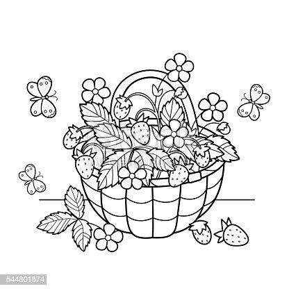 Coloring Page Outline Of Cartoon Basket Of Strawberries