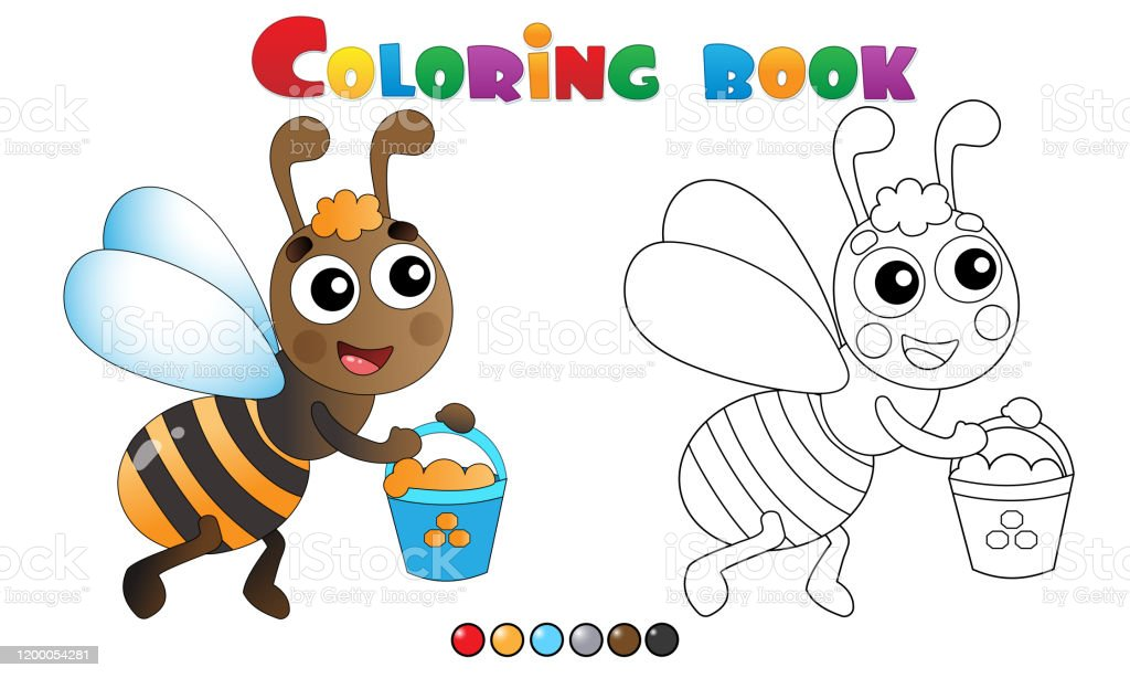 - Coloring Page Outline Of Cartoon Bee With Honey Coloring Book For Kids  Stock Illustration - Download Image Now - IStock