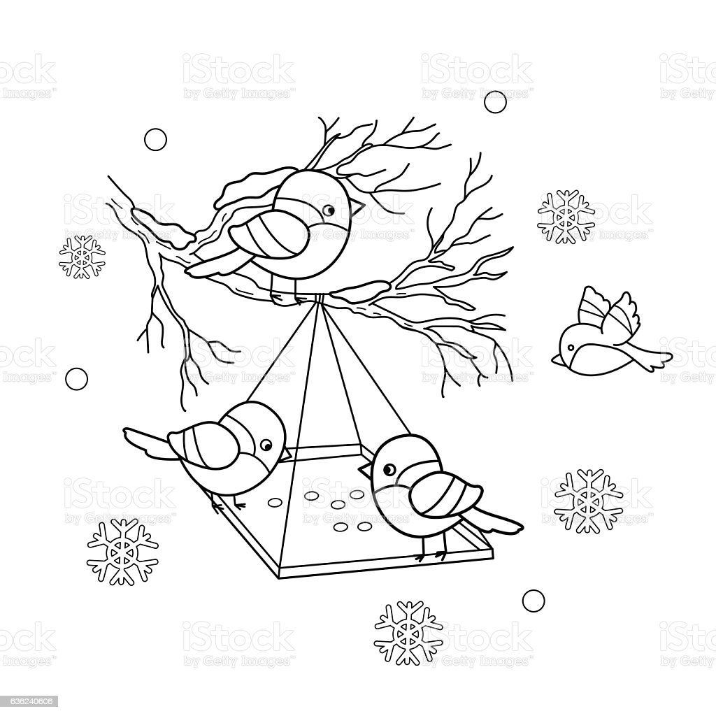 Coloring Page Outline Of Cartoon Birds In The Winter Stock Illustration -  Download Image Now