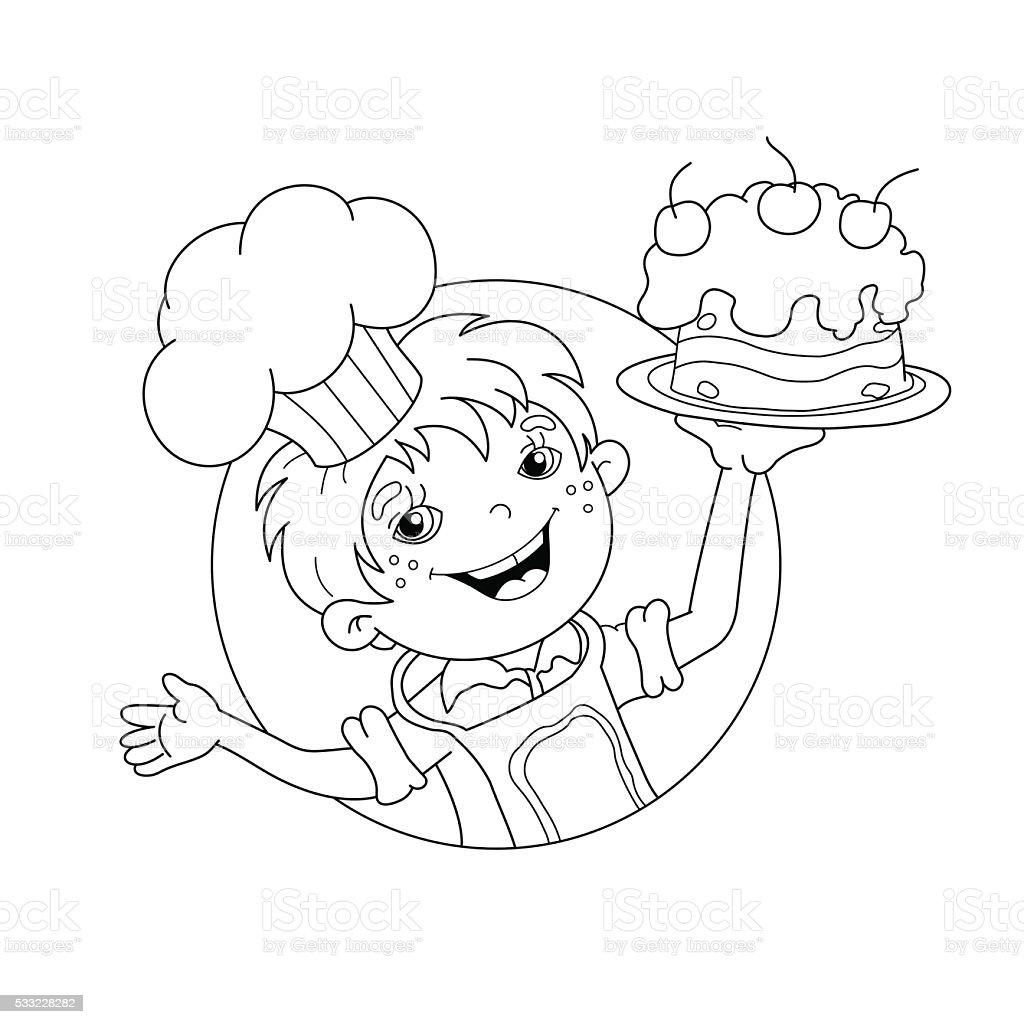 Pagina da colorare sagoma di fumetto di ragazzo chef con - Bambine che cucinano ...