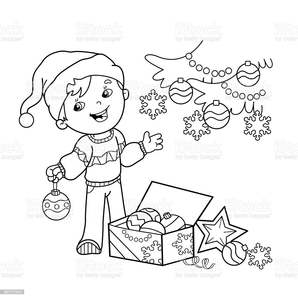 coloring page outline of cartoon boy decorating the christmas tree
