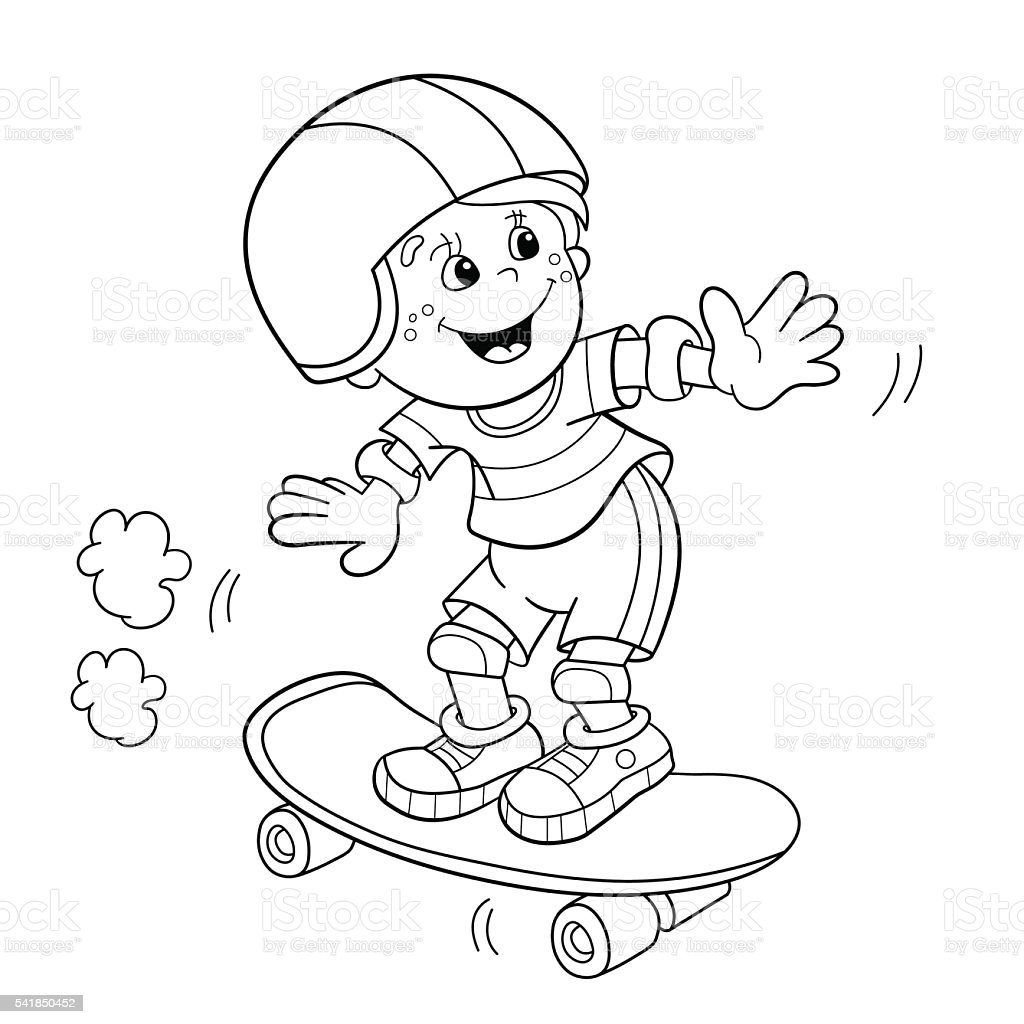 Coloring page outline of cartoon boy on the skateboard for Boy outline coloring page