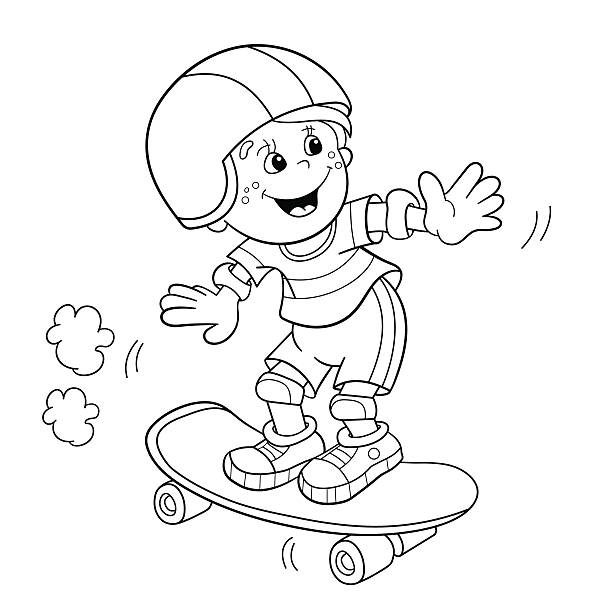 77 Skateboard Coloring Pages Illustrations Clip Art Istock