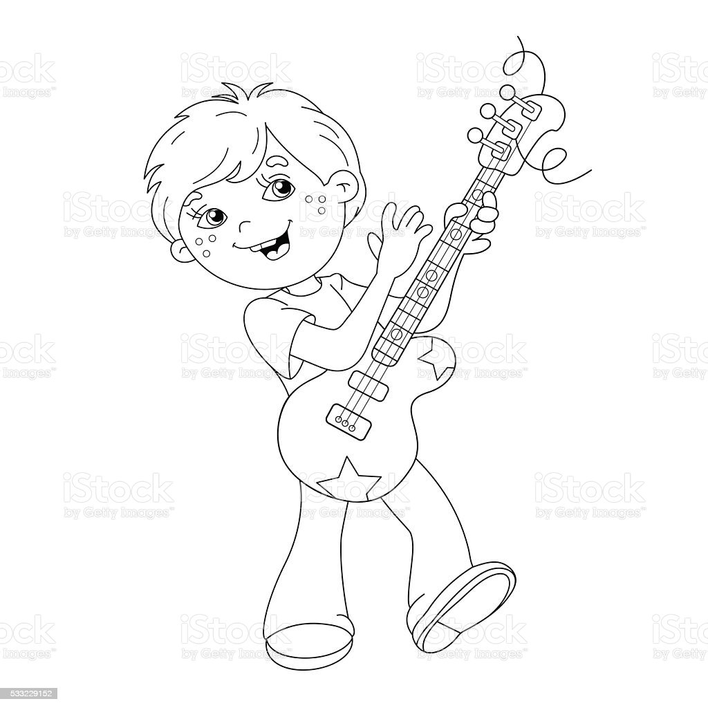 Coloring page outline of cartoon boy playing guitar stock for Boy outline coloring page