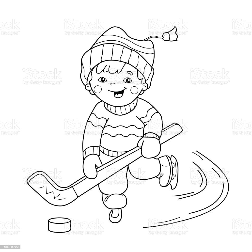 Coloring Page Outline Of Cartoon Boy Playing Hockey Royalty Free