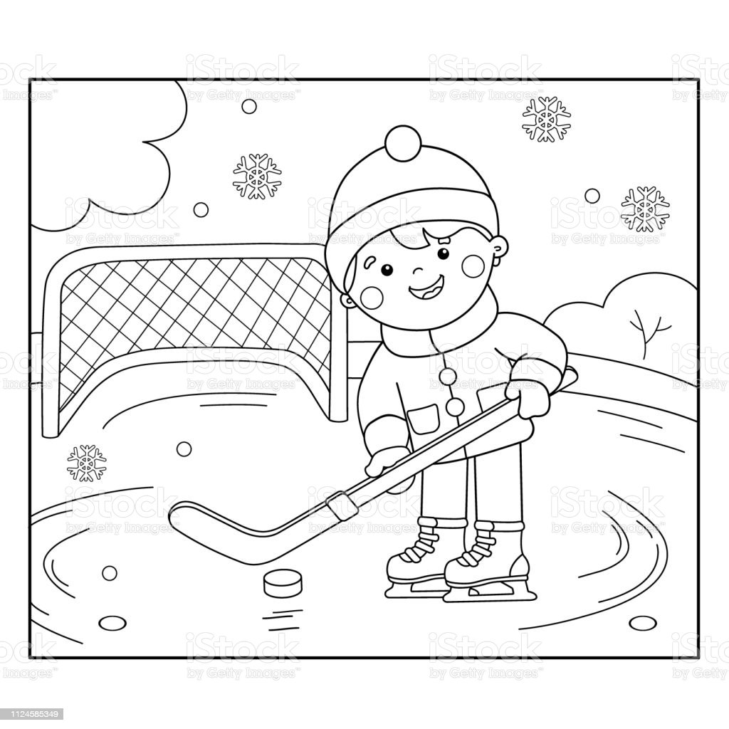 Coloring Page Outline Of cartoon boy playing hockey. Winter sports....