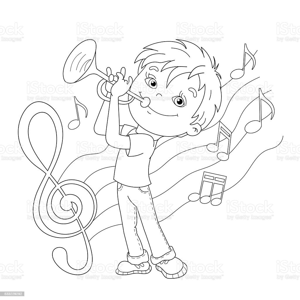 Coloring Page Outline Of Cartoon Boy Playing The Trumpet Stock