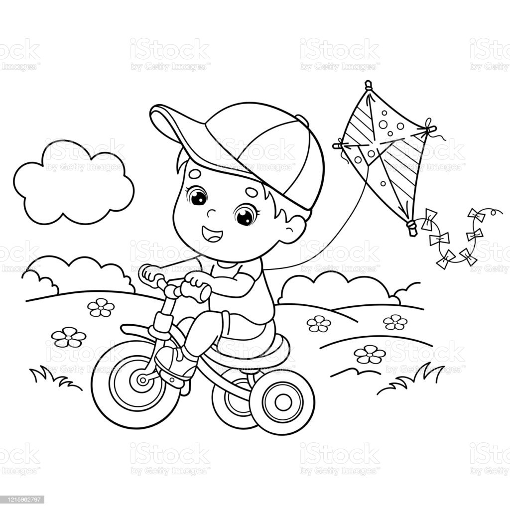 Coloring Page Outline Of Cartoon Boy Riding A Bicycle With A Kite Coloring Book For Kids Stock Illustration Download Image Now Istock