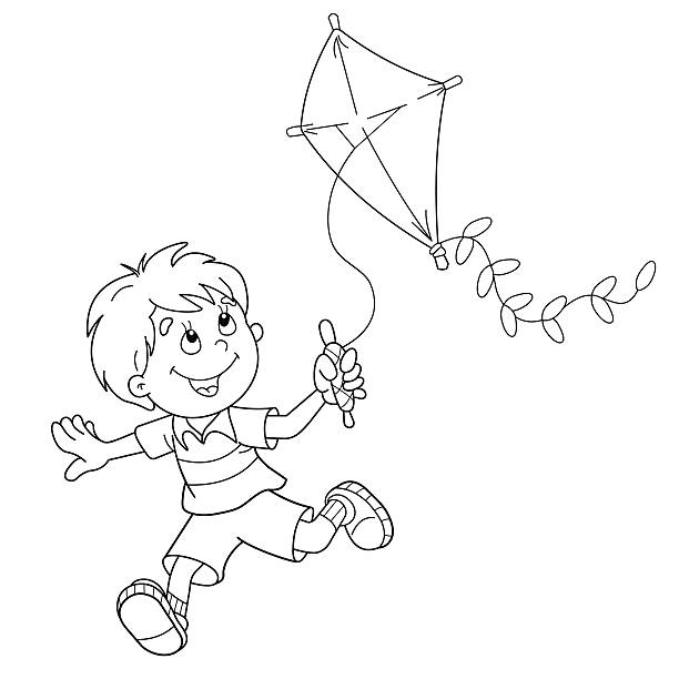 Picture 50 of Boy Flying Kite Clipart Black And White ...