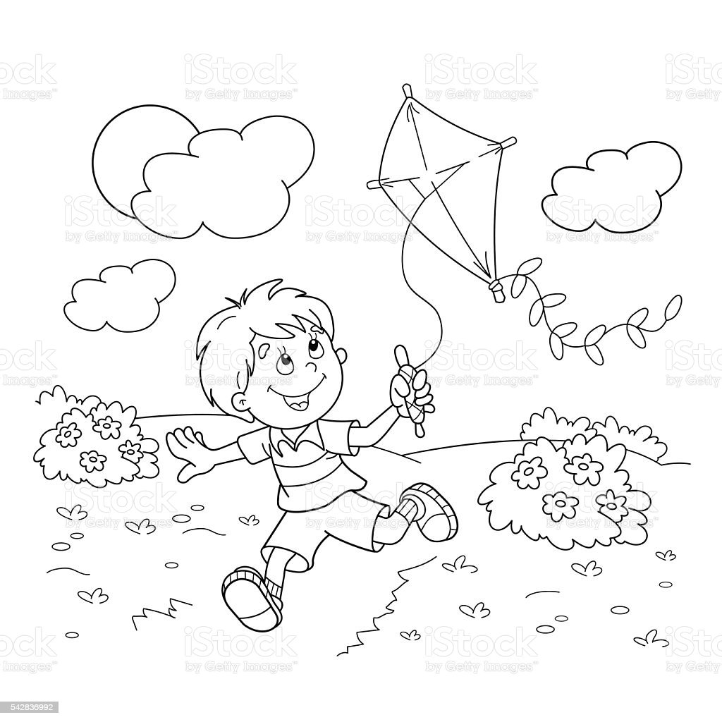 Coloring Page Outline Of Cartoon Boy Running With A Kite Royalty Free