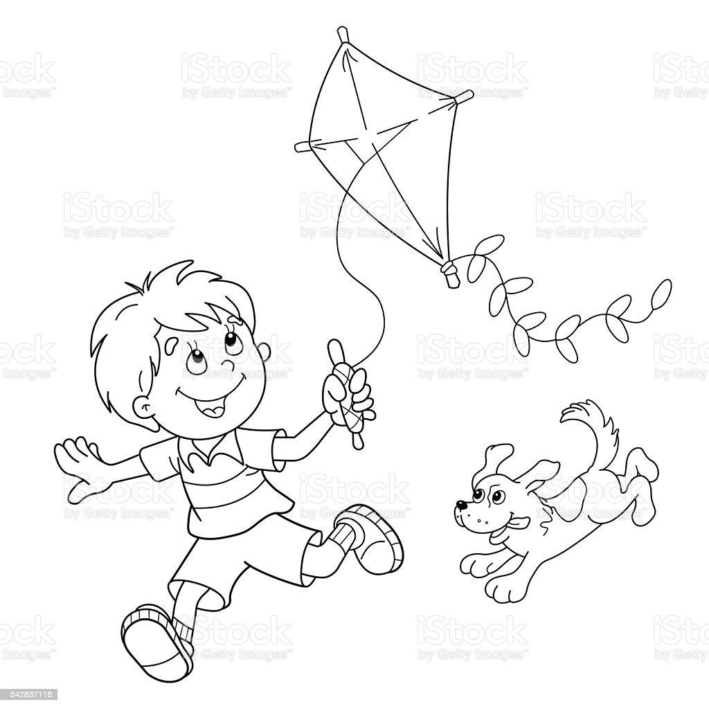 Free coloring pages kite - Coloring Page Outline Of Cartoon Boy Running With Kite With Dog Royalty Free Stock Vector