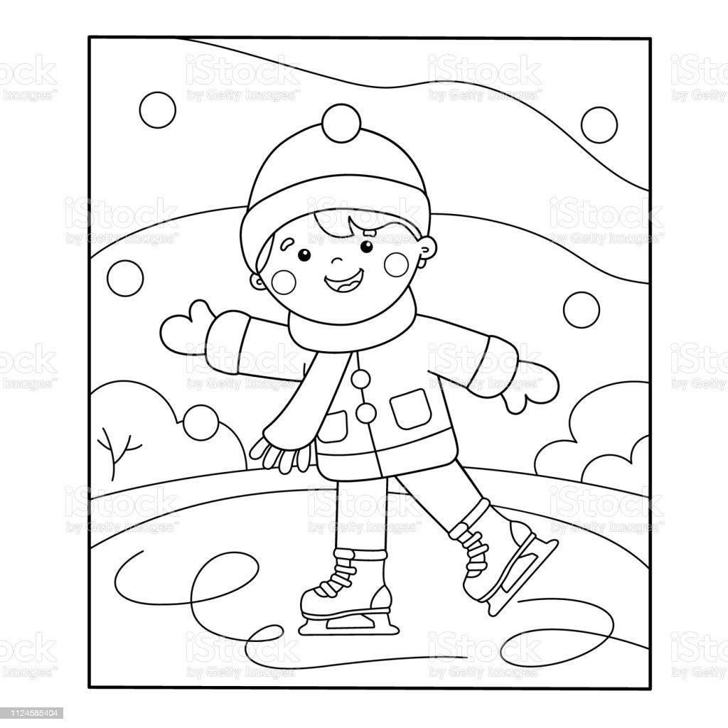 Ilustración De Para Colorear Esquema De Página De Dibujos Animados