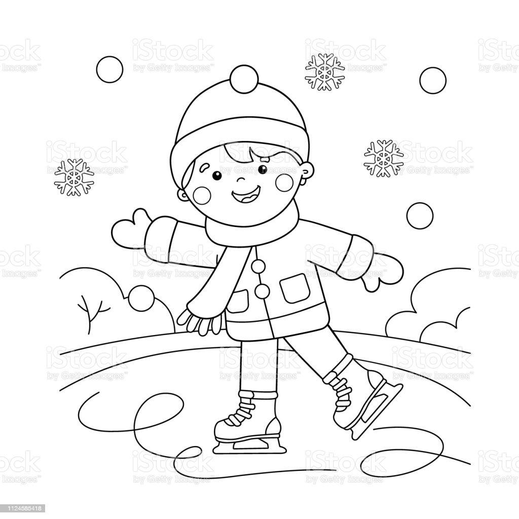 Coloriage Page Apercu Du Dessin Anime Garcon Patinage Sports Dhiver Livre De Coloriage Pour Les Enfants Vecteurs Libres De Droits Et Plus D Images Vectorielles De Arts Culture Et Spectacles Istock