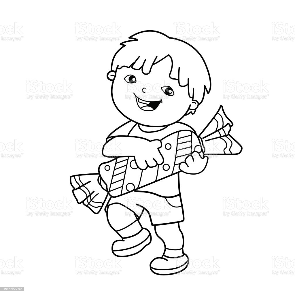 Coloring page outline of cartoon boy with candy stock for Boy outline coloring page