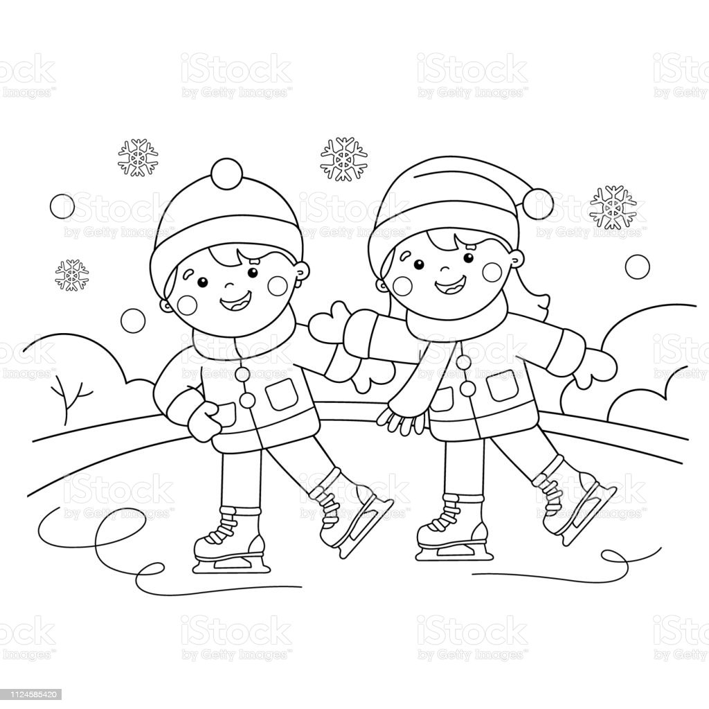 Coloring page outline of cartoon boy with girl skating winter sports coloring book for kids illustration