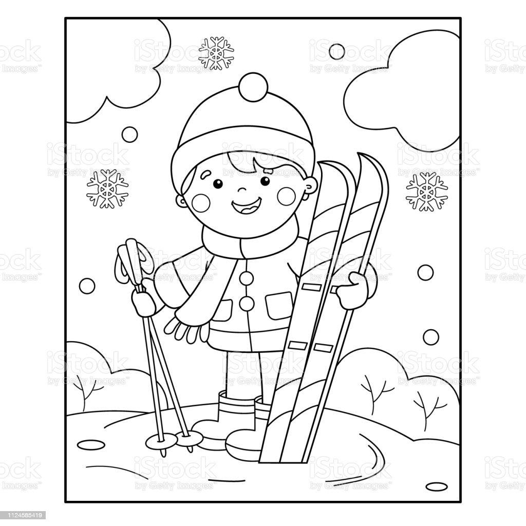 Kleurplaten Wintersport.Kleurplaat Pagina Overzicht Van Cartoon Jongen Met Skis