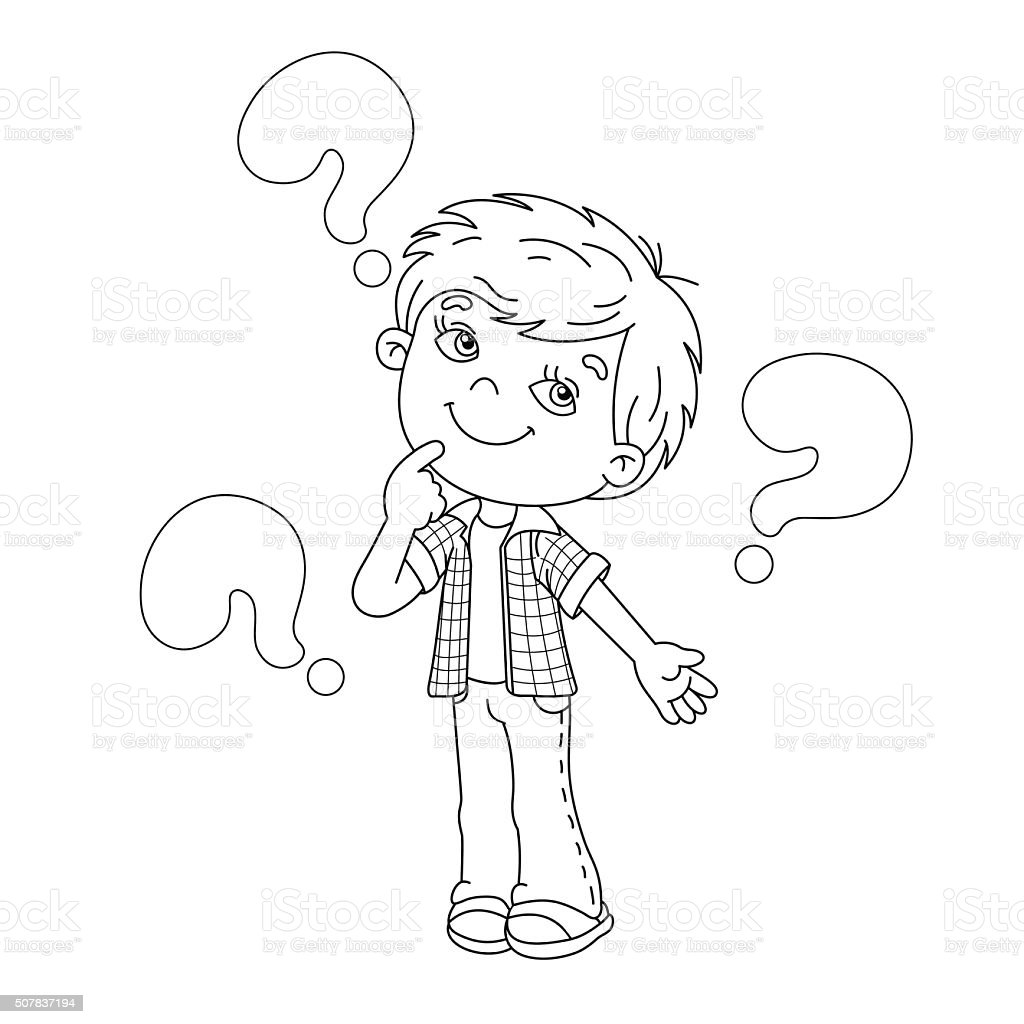 Coloring Page Outline Of Cartoon Boy With The Big Questions Royalty Free