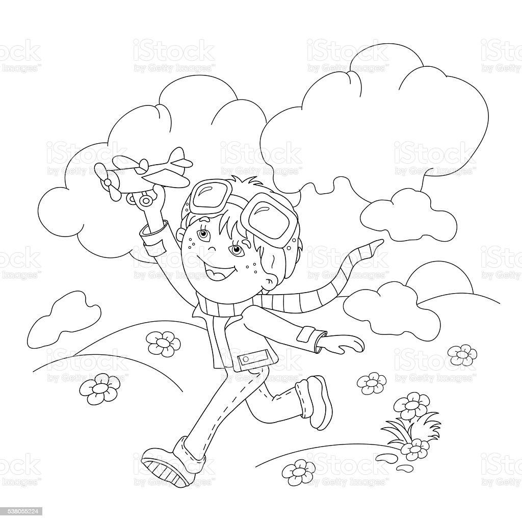 Coloriage Avion En Papier.Page Contour De Coloriage De Dessin Anime Garcon Avec Jouet Avion