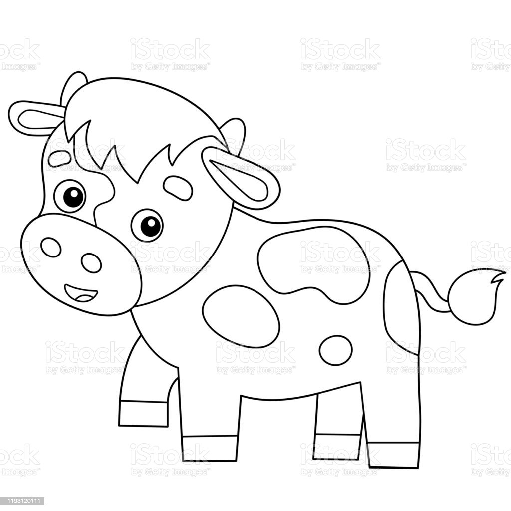 Coloring Page Outline Of Cartoon Calf Or Kid Of Cow Farm ...