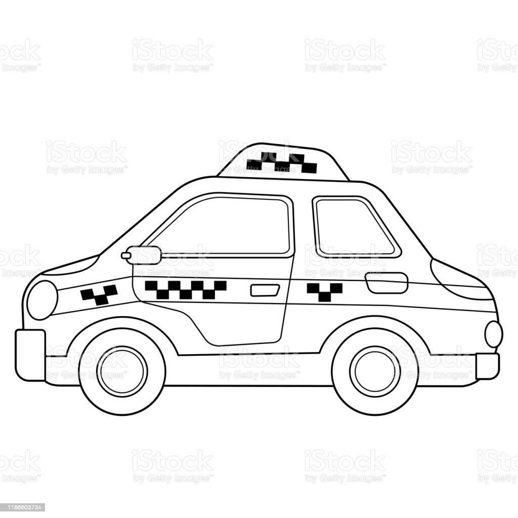 Karikatur Araba Boyama Sayfasi Anahat Taksi Goruntuler Tasima Veya