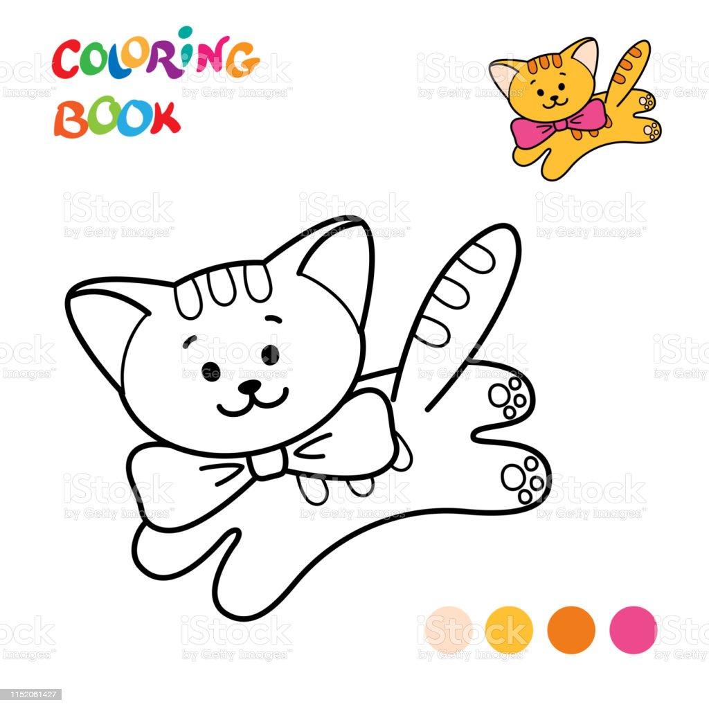 Ilustración De Página Para Colorear Contorno De Gato De
