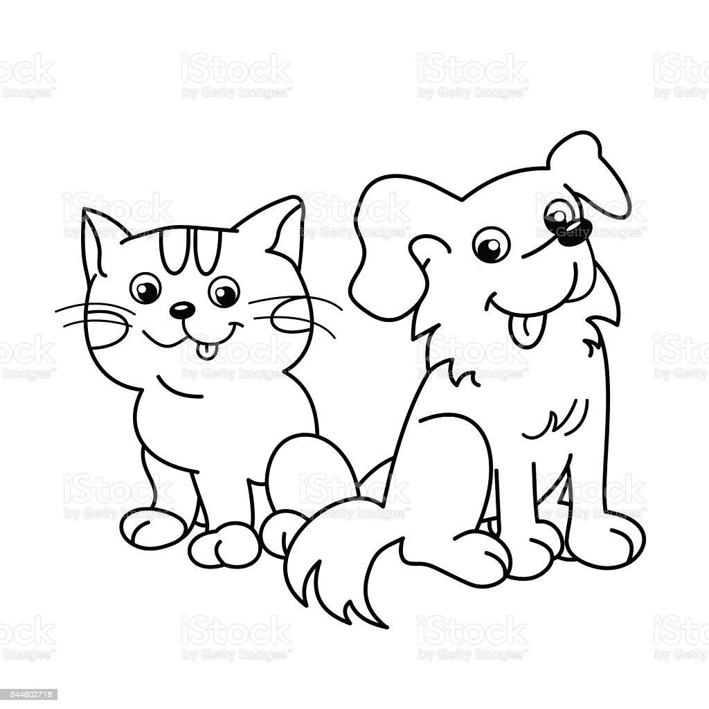 очертание раскраски мультяшная кошка с собакой домашние