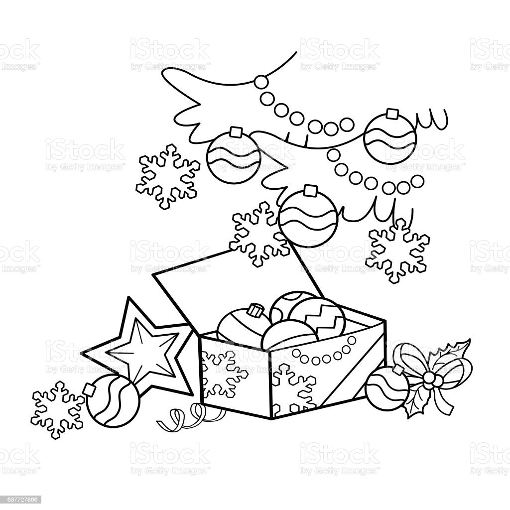 Coloring Page Outline Of Cartoon Christmas Decoration Stock ...