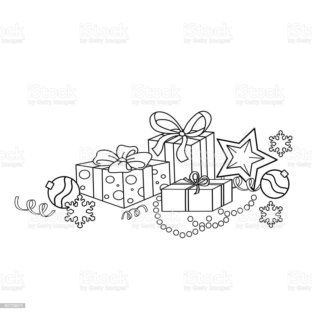 coloring page outline of cartoon christmas ornaments and gifts royalty free coloring page outline of