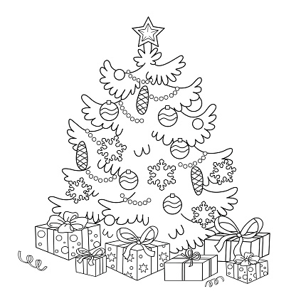 coloring page outline of cartoon christmas tree with gifts stock illustration download image now istock https www istockphoto com vector coloring page outline of cartoon christmas tree with gifts gm637728152 113907651