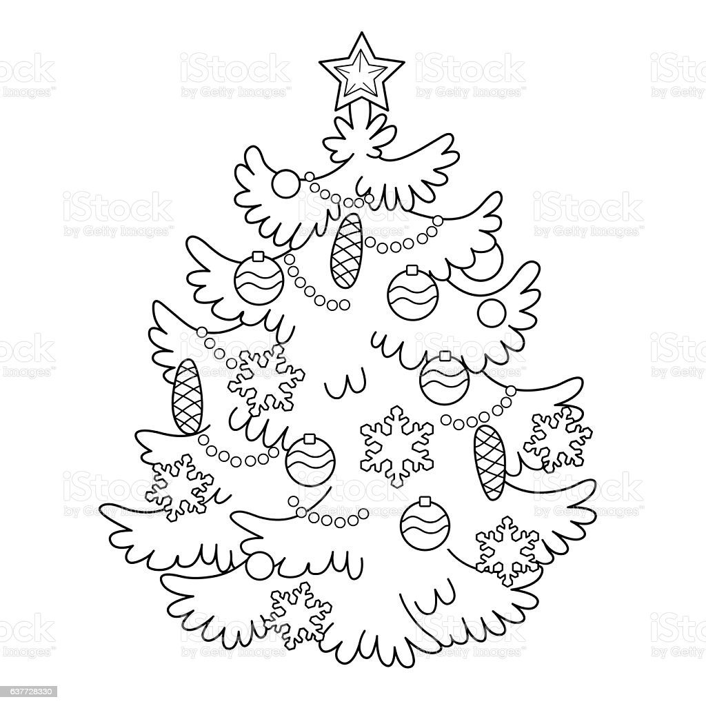 Coloring Page Outline Of Cartoon Christmas Tree With Ornaments Stock