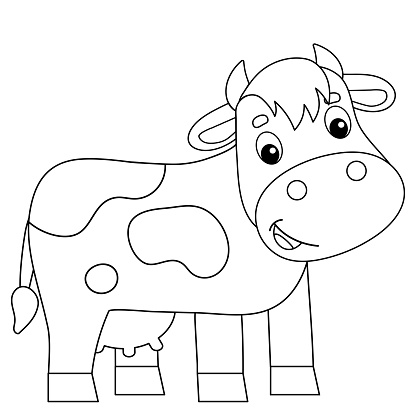 Coloring Page Outline Of Cartoon Cow Farm Animals Coloring ...