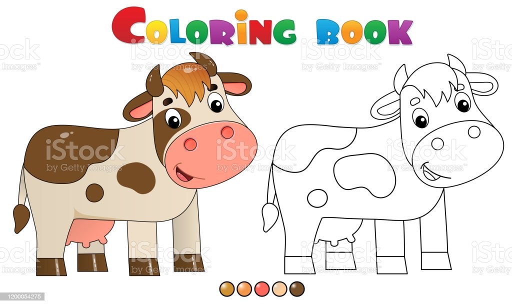 - Coloring Page Outline Of Cartoon Cow Farm Animals Coloring Book For Kids  Stock Illustration - Download Image Now - IStock