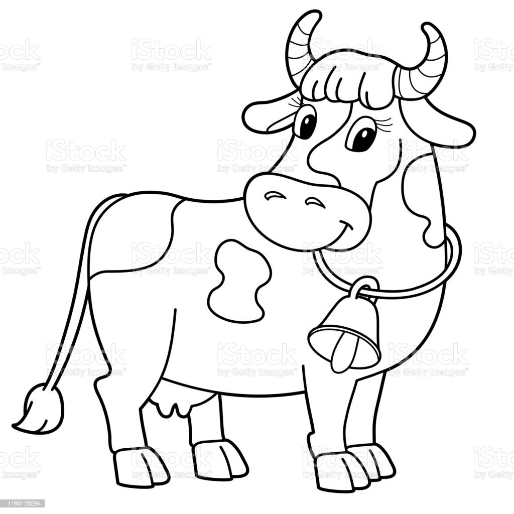- Coloring Page Outline Of Cartoon Cow With Bell Farm Animals Coloring Book  For Kids Stock Illustration - Download Image Now - IStock